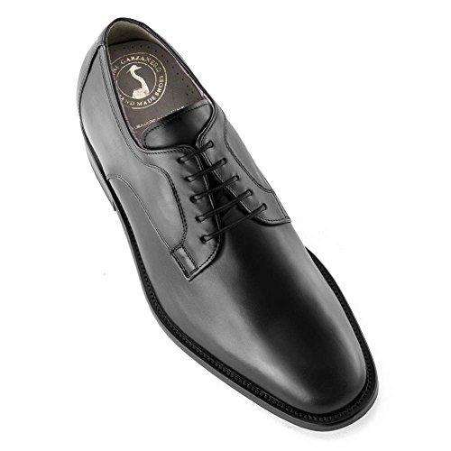 Scarpe con rialzo da uomo che aumentano l'altezza fino a 7 cm. fabbricate in pelle. modello boston nero 43
