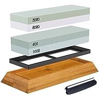 Abziehstein Schleifstein Set, ASEL 2-in-1 Wetzstein mit 400/1000 3000/8000 Körnung, Abziehstein für Messer inkl. Gummi-Steinhalter sowie Bambus Basis und Messer-Halter