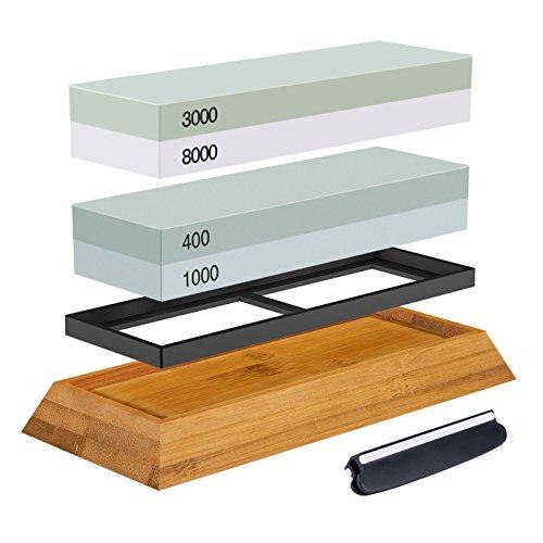 Abziehstein Schleifstein Set, ASEL 2-in-1 Wetzstein mit 400/1000 3000/8000 Körnung, Abziehstein für Messer inkl. Gummi-Steinhalter sowie Bambus Basis und Messer-Halter (Gezahnte Voll Klinge)