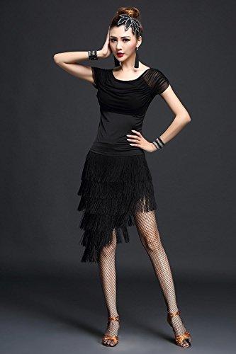 Frau Lateinischer Tanz Kleidung Quaste Kleid schwarz Rose Rot , black , (Zeitgenössische Kostüme Performance Tanz)