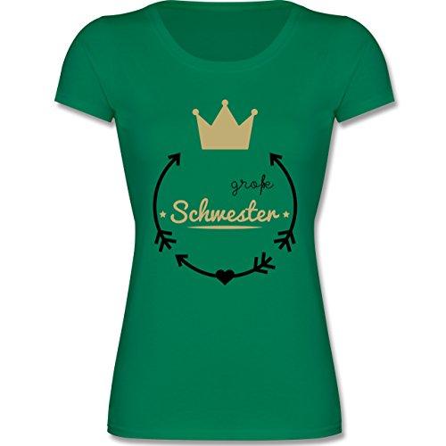 Shirtracer Geschwisterliebe Kind - Große Schwester - Krone - 128 (7-8 Jahre) - Grün - F288K - Mädchen T-Shirt (T-shirt Mädchen Viele)