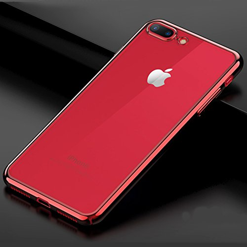 "Coque Apple iPhone 7 Plus (5.5""), MSVII® TPU Souple Transparent Bumper Coque Etui Housse Case et Protecteur écran Pour Apple iPhone 7 Plus (5.5"") - Or JY60048 Rouge"
