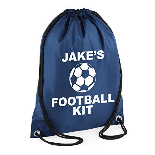 Azul marino personalizada de forma bolsa de trabajo infantil de con nombre  de balón de fútbol - Boy s 100% deporte de los cierres de algodón ... cfc7526b7c571