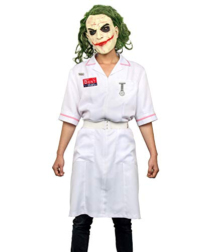 Kostüm Joker Krankenschwester Als - NUWIND Herren Dent Joker Krankenschwester Kostüm Kleid Clown Mantel Uniform Cosplay Kostüm Halloween Kostüm Schminkanzug Outfit mit Latexmaske Gr. Medium, Dress+mask