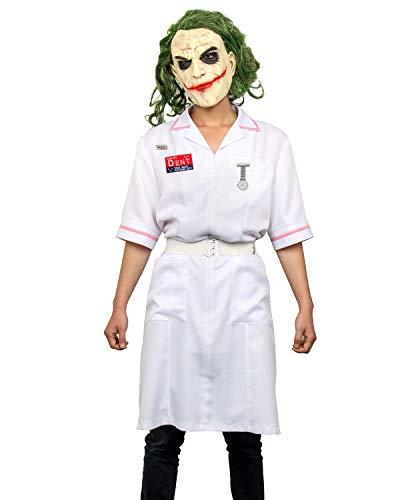 Kostüm Krankenschwester Joker - NUWIND Herren Dent Joker Krankenschwester Kostüm Kleid Clown Mantel Uniform Cosplay Kostüm Halloween Kostüm Schminkanzug Outfit mit Latexmaske Gr. L, Dress+mask
