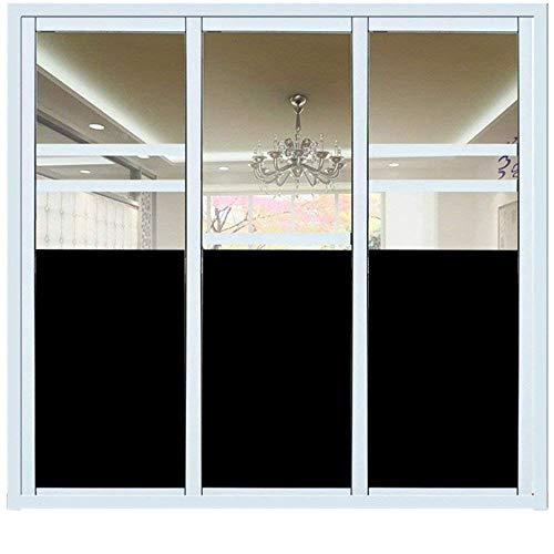 Fensterfolie Schwarz, Hifina Fensterfolie Sichtschutzfolie Schwarz / Fenster Folie Selbstklebend / Fensterfolie Sichtschutz (60 * 200cm) - Vinyl Jalousie Weiss