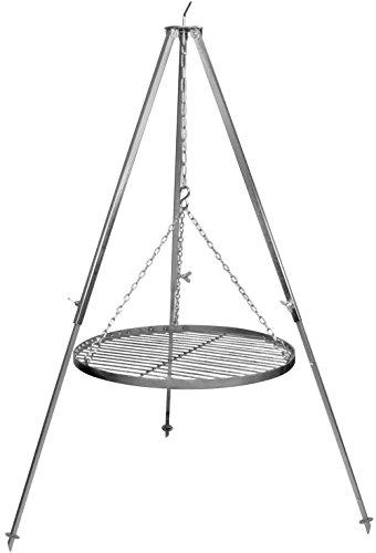 Schwenkgrill Grillrost Edelstahl 50 cm, Dreibeingestell 130 cm verzinkt