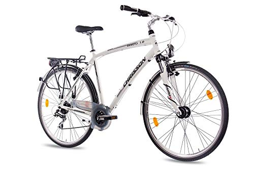 CHRISSON 28 Zoll Herren City Bike - Sereto 1.0 Weiss - Herrenfahrrad mit Nabendynamo und 24 Gang Shimano Acera Kettenschaltung, Trekkingfahrrad mit Suntour Federgabel