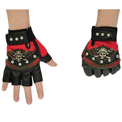 Vogstyle Herren Unisex Halbfinger fingerlosen Jagd Reiten Radfahren Outdoor Sports Handschuhe mit Nieten Style 3 Rot