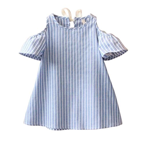 HUIHUI Kleid Mädchen, Toddler Mädchen Kleid Gestreifte Kurzarm Sommerkleid Party Prinzessin Dress Casual T-shirt Kleid Frühlings Herbst Cocktailkleid (130 (5-6Jahre), Blau)