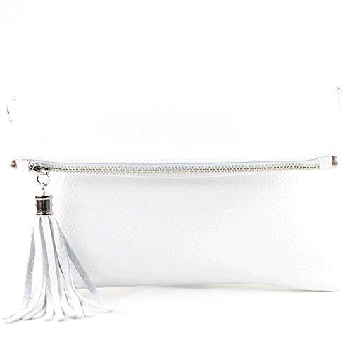 Clutch Aus Weißem Leder Handtaschen (modamoda de - T167 - ital Clutch/Umhängetasche Leder Klein, Farbe:Weiß)