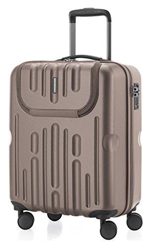 HAUPTSTADTKOFFER - Havel - 2er Koffer-Set (Handgepäck mit Laptop-Fach und Großer Reisekoffer) Trolley-Set Rollkoffer Hartschalenkoffer, TSA, (S & L), Gold - 2