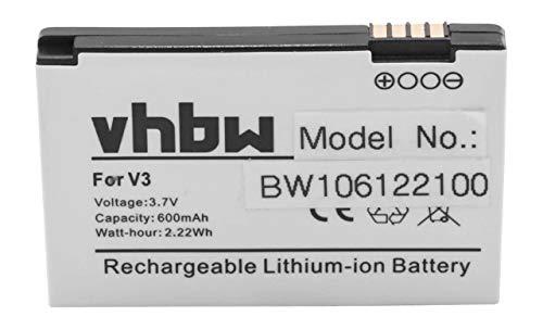 vhbw Akku passend für Motorola Razr V3, V3c, V3e, V3i, V3im, V3m, V3t Pebl U6 Handy Telefon (600mAh, 3.7V, Li-Ion) -