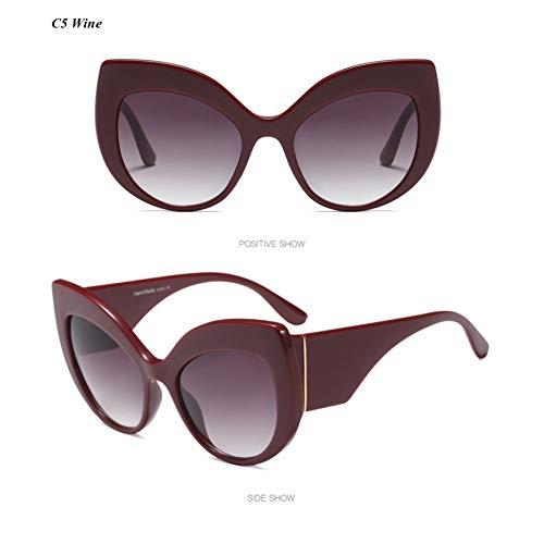 YLNJYJ Moderne Katzenauge Frauen Sonnenbrille Übergroße Brillen Vintage Mode Weibliche Brillen Männer Sonnenbrille Marke Shades Oculos
