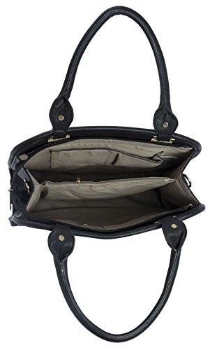 Big Handbag Shop ,  Damen Tasche Tan & White