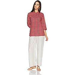Myx Women's Straight Fit Cotton Kurta (NIT001CORE8B_Red_Medium)