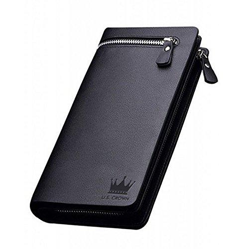 U.S. Crown Imported Men and Women Designer Long Black Zipper Wallet