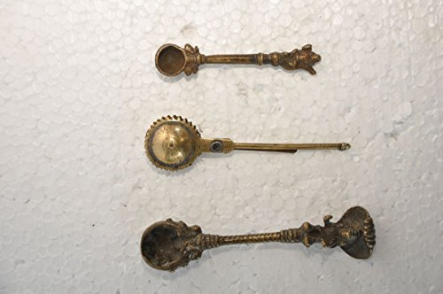 Old Brass Lot Of 3 Different Handcrafted Holy Water Spoon & Kajal Making Tool