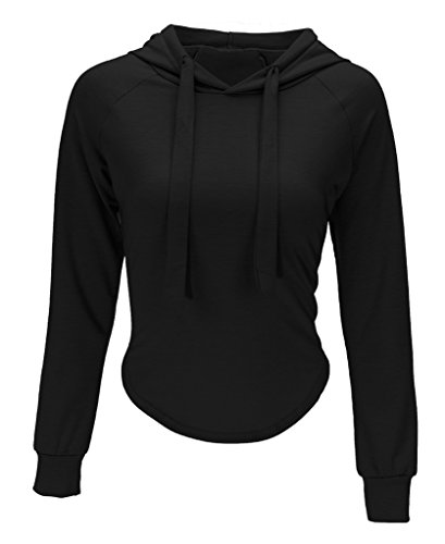 Bigood Sexy Sweat-shirt à Capuche Femme Top Crop Veste Courte Pull Manche Longue Soirée Casual Noir