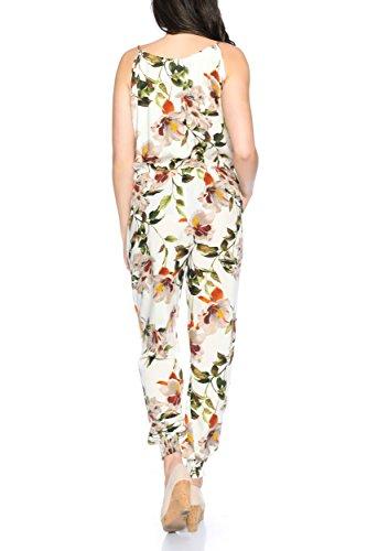 Kendindza Femme Jumpsuit combinaison Calqué longue avec support 016-25-Blanc