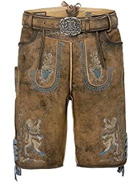 Stockerpoint - Herren Trachten Lederhose mit Gürtel, in Hanf gespeckt, Bayern-Bua