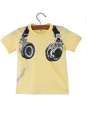 Kukul Boy T-shirt Chico Camiseta de los niños Verano Impresión de auriculares Camisetas de manga corta Ropa de...