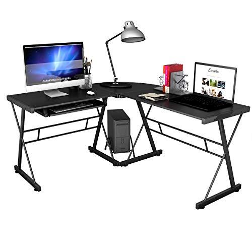 COSTWAY Computertisch Schreibtisch PC Tisch Computerschreibtisch Bürotisch Ecktisch Tisch in L-Form Eckschreibtisch Winkelschreibtisch, Schwarz