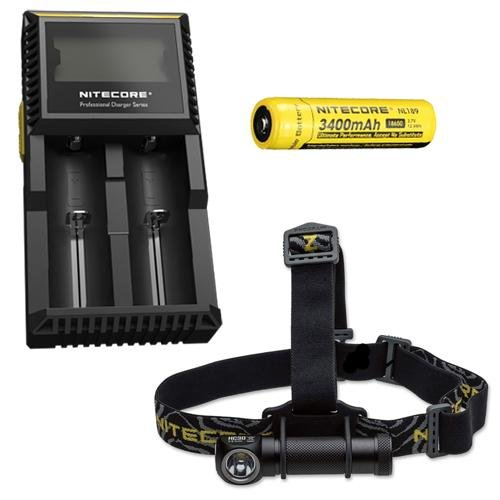 Combo: Nitecore HC30 Headlamp w/D2 Charger & NL189 Battery -
