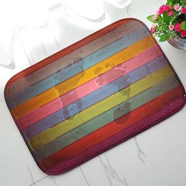 DCY Rug Regenbogen-gestreiftes Flanell Schlafzimmer Badezimmer-Tür-Teppiche -40 * 60cm, Color Board Footprint mat, 40 * 60cm - Mat-board-speicher