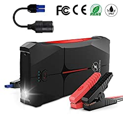 FLYLINKTECH Jump Starter, 800A Peak 12000mAh IP67 Waterproof Car Jump Power Pack (Up to 4.0L Gas or 2.0L Diesel) Emergency Auto Battery Booster with Smart USB Port and LED Flashligh