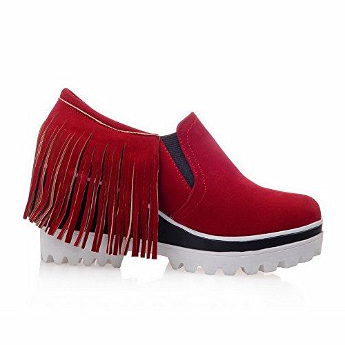 AllhqFashion Femme à Talon Haut Dépolissement Couleur Unie Tire Rond Chaussures Légeres Rouge