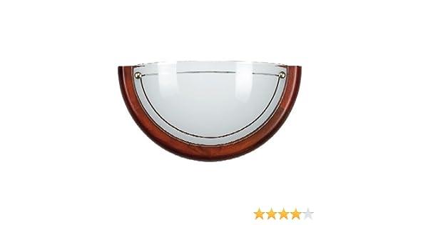 Plafoniere Con Bordo In Legno : Plafoniera da parete con bordo in legno vetro bianco e rigo
