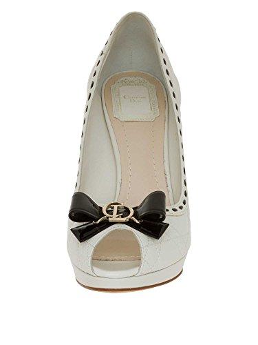 Dior Femmes Escarpins à bout ouvert cuir véritable Blanc Cassé