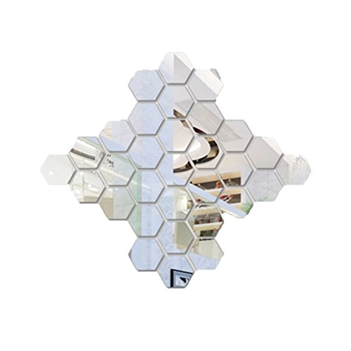 SZTARA 3D Hexagon Tiles Mirror DIY Self-adhesive Wall Decorative Sticker Home Decor Art Decals for Living Room Sliver