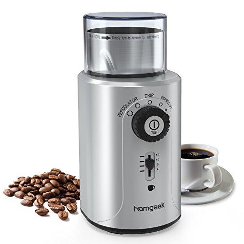 Homgeek Kaffeemühle, Elektrische Kaffeemühle mit Schlagmesser 2-12 Tassen Ideal für Espresso Kaffeebohnen, Nuß und Gewürz, 70g, 200Watt, einziehbare Schnur