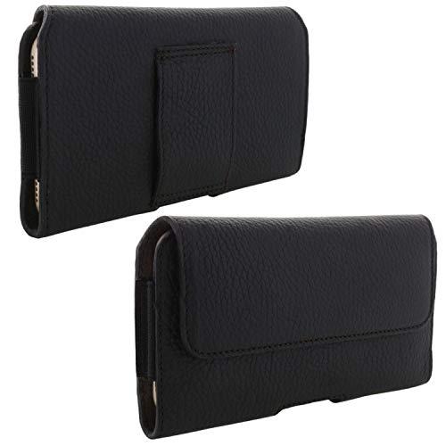 XiRRiX Echt Leder Handy Tasche 2.4 5XL Gürteltasche passend für Samsung Galaxy A7 A8+ A9 J4+ J6+ 2018 A70 A80 / Note 8 9/10 Pro - schwarz