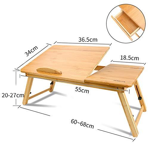 ALIPC Portable Faltbare Laptop-Tisch,100% Bambus Schreibtisch Büromöbel Einstellbare Frühstück Servierbett Tablett Mit Cup Slot Für Bett-d 55x34cm(22x13inch) -