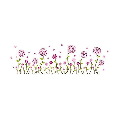 sourcingmap® Pissenlit Fleur mauve rose mural Papier peint mural Chambre Décor