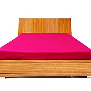 500TC 100% Egyptian Cotton Hot Pink Solid Brand New 1 PC Fitted Sheet 10 Inches Deep, Double