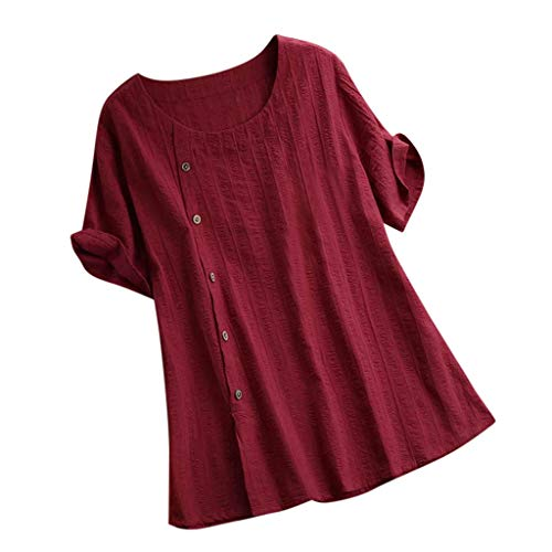 Plus Size Frauen O Ausschnitt Pure Color Pocket Unregelmäßigkeiten Half Sleevetops Bluse Unregelmäßiges Baumwollhemd Mit Großer, Einfarbiger Rundhalstasche