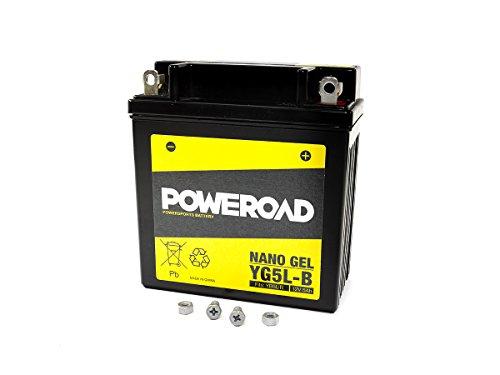 GEL-Batterie-Poweroad YB5L-B/12N5-3B 5AH für Hercules Honda Kymco Malaguti MZ/MUZ Peugeot Piaggio Royal Enfield Sachs Simson Suzuki Vespa Yamaha