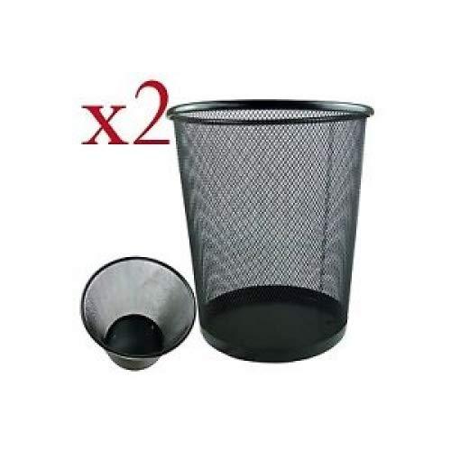 Zuvo, runder Papierkorb aus Meshline, leicht und stabil, schwarz, 2 Stück