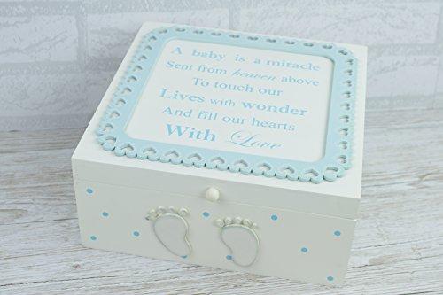 """Preisvergleich Produktbild F1718B Sehr große Holzbox mit Aufdruck """"Baby Boy is Born A Miracle"""", Taufgeschenk, zur Bewahrung von Kindheitserinnerungen"""