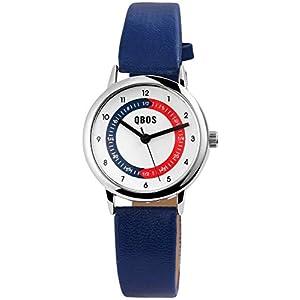 QBOS Kinderuhr Weiß Blau Rot Analog Metall Leder Armbanduhr