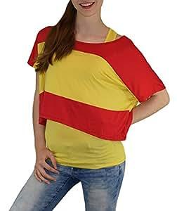 S&LU absolut angesagtes 2-teiliges Damen Spanien-Fan-Flagtop Größe XS-L (gelb, XS-L)