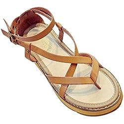 YOUJIA Mujer Sandalias Hebilla Romana Zapatos de Playa Clip Toe Sandalias Plano Verano Cuero de imitación (Amarillo, EU 36/36.5)