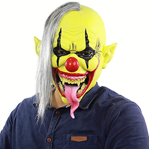 Kostüm Zombie Rob Halloween Clown - IBLUELOVER Halloween Maske Clown Hexe Attentäter Latexmaske Zombie Teufel Ghost Geist Faultiermaske mit Haar Horror Gruselig Party Requisiten Cosplay Kostüm für Weihnachten Ostern Nachtclub