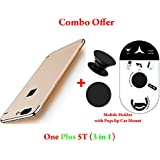 Like It Grab It Oneplus 5T / One Plus 5T Full Protection 360º Double Dip Super Slim Premium Shockproof 3 In1 Full Body Protection IPaky Back Cover Case For Oneplus 5T - ( Gold ) + PopSockets | Pop Grip Socket & Pop Mount Designer Phone Stand Hold