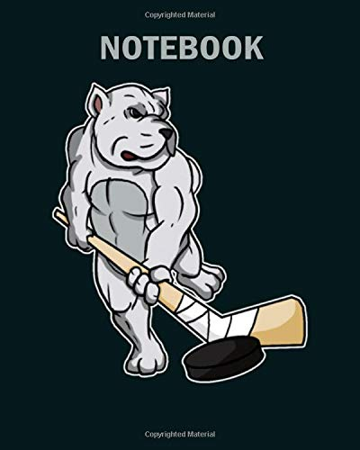 NoteBook: bulldog dog lover dog hockey player - 50 sheets, 100 pages - 8 x 10 inches