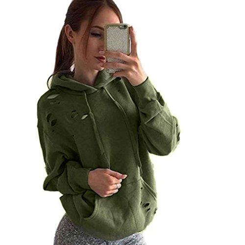 FEITONG Para mujer suelta de manga larga Casual Algodón Suéter con capucha Jumper Suéteres Tops capa de la camisa (M, Verde)